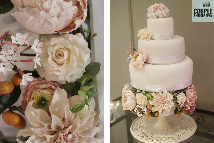 The beautiful homemade cake with handmade flowers. Weddings at Druids Glen Hotel by Couple Photography.