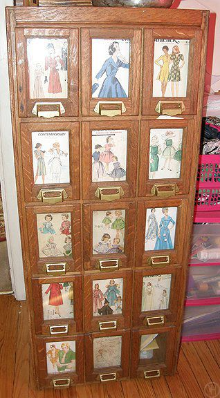 vintage sewing pattern case / storage / drawers