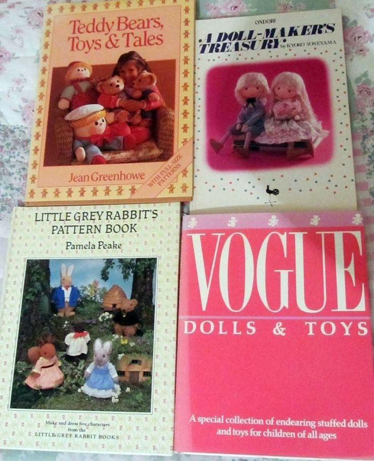 JOB LOT OF 4 Vogue dolls and teddies, Grey rabbit patterns, doll makers books