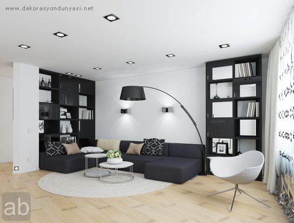 siyah beyaz oturma odaları
