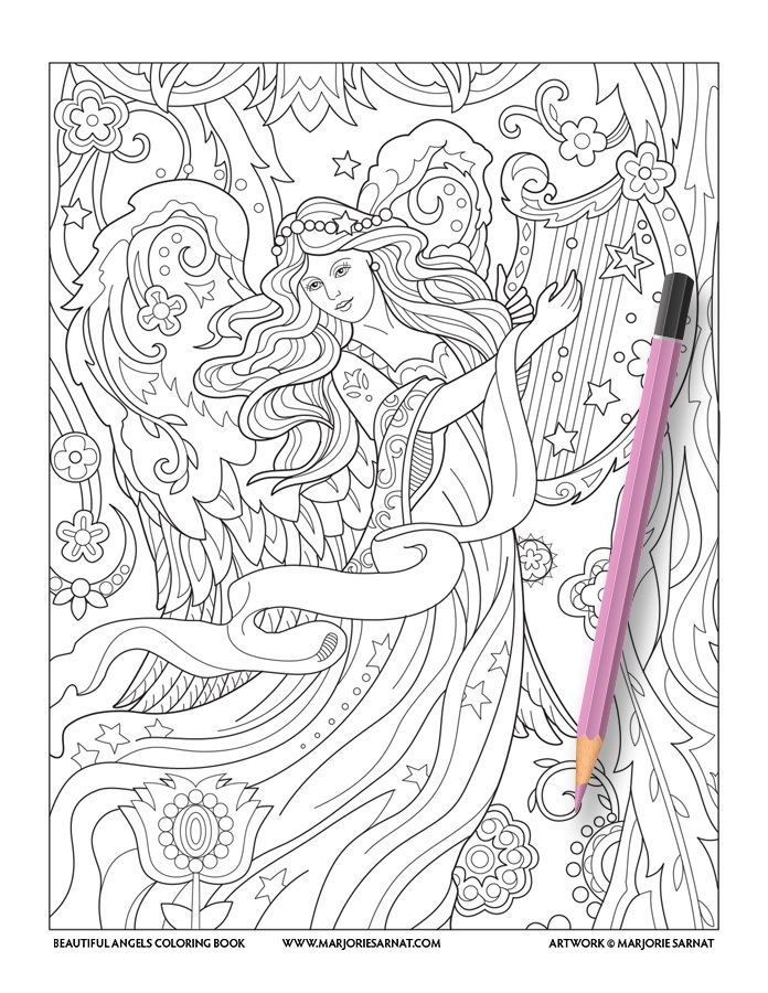 The 64 best Angels Coloring Pages for Adults images on Pinterest