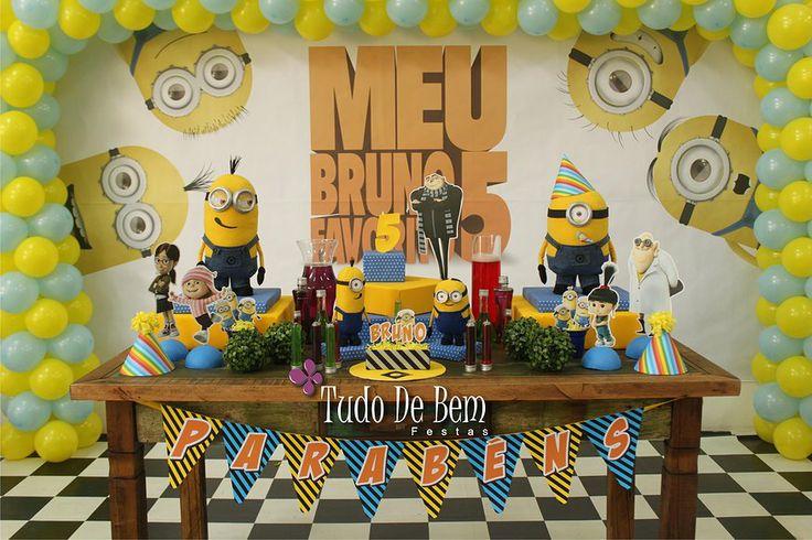 Minions, Gru e muito mais! A decoração da festa do Meu Malvado Favorito foi um sucesso! Veja detalhes em Festa de Menino no site www.tudodebem.com.br