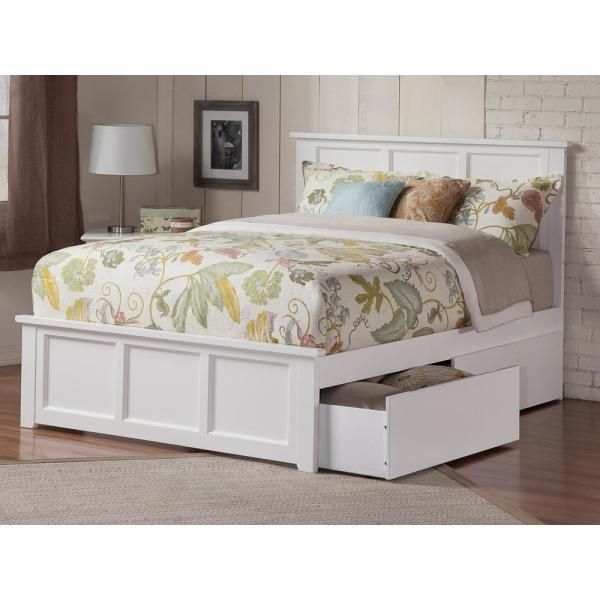 Atlantic Furniture Madison White Queen Platform Bed With Matching