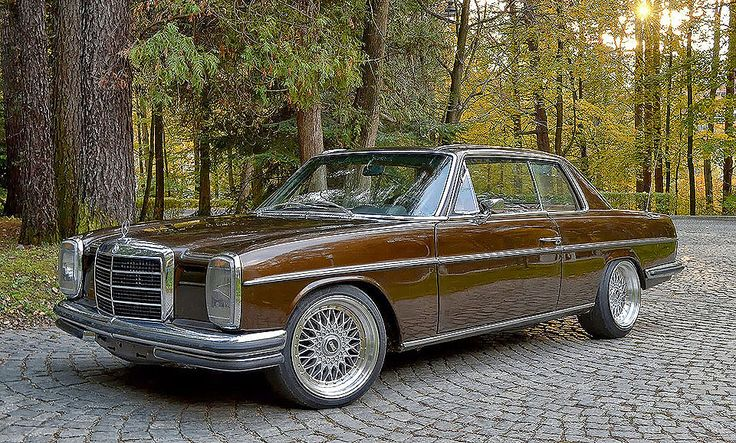 w114 Mercedes 250c or 280c with BBS 'Style 5' wheels.  There is a nice video of this car on YouTube if you use the search terms 'Custom W114 Mercedes coupe'.  It is worth the watch.