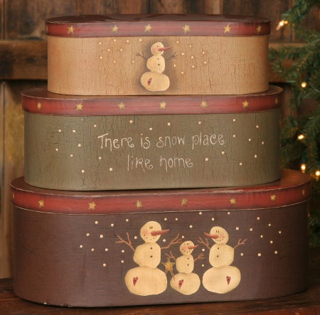 Country Stacking Boxes | ... SNOWMAN COLLECTION > Primitive Snowman - Nesting Boxes, Oblong