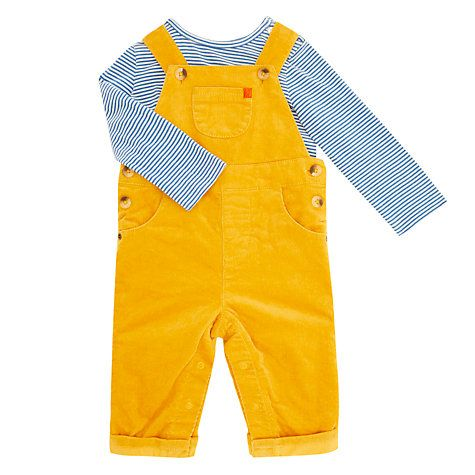 Buy John Lewis Baby Artroom Dungaree Outfit Set, Yellow Online at johnlewis.com