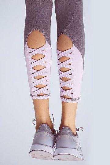US$15.95  #Contrast #Color #Cut #Out #Leggings