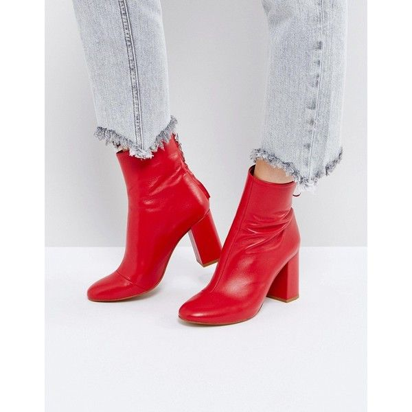 ASOS EDITION Leather Zip Ankle Boots (325 BRL) ❤ liked on Polyvore featuring shoes, boots, ankle booties, red, leather bootie, high heel ankle boots, red ankle boots, leather high heel boots and high heel boots