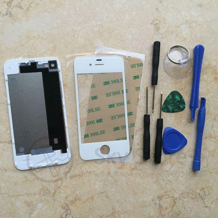 Nouveau pour iphone 4 4s avant écran tactile en verre + batterie de logement en verre arrière + D'origine Tournevis outils Remplacement De Réparation pièces