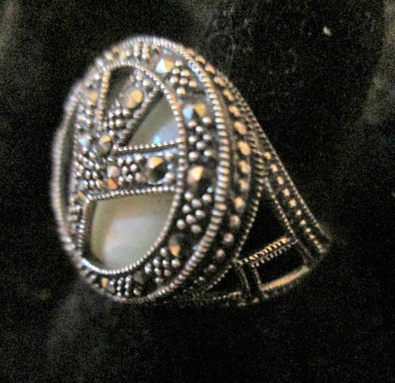 Sterling Silver Marcasite Peace Ring Size 7.25 Abalone Shell