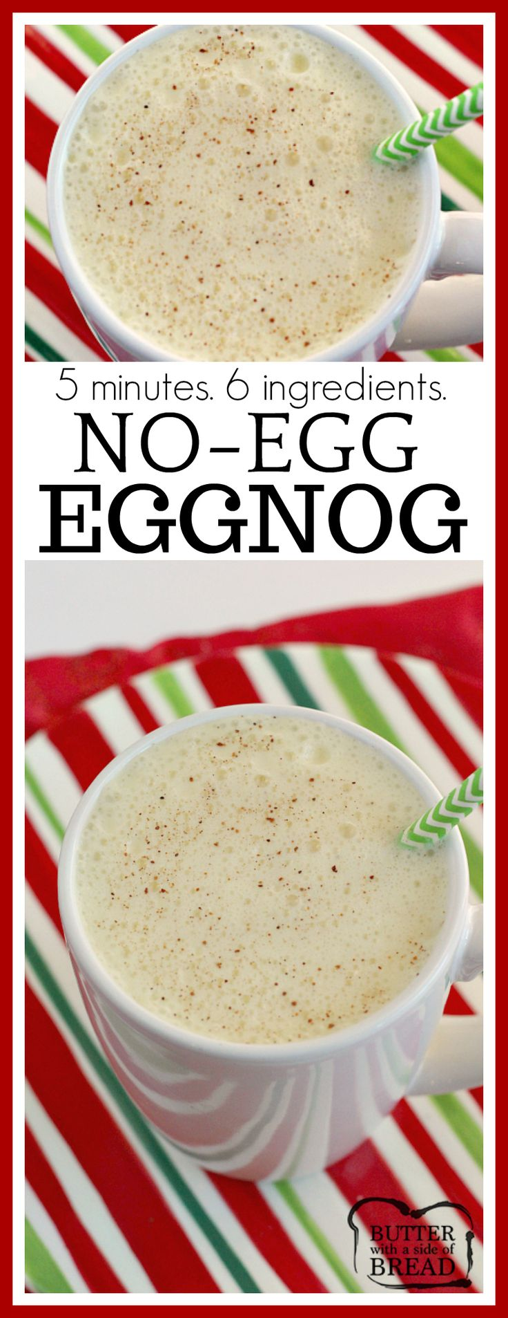 Easy No-Egg Eggnog can be made quickly in a blender with French vanilla pudding, milk, whipped cream and a few other basic ingredients!