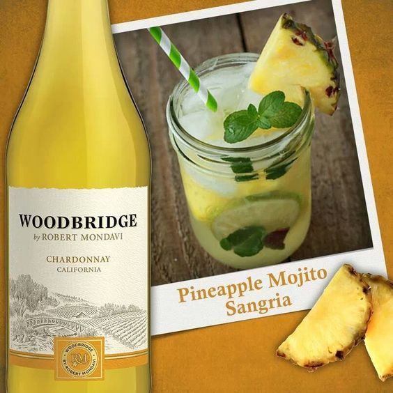 Pineapple Mojito Sangria I used chardonnay and club soda to keep it from being t…