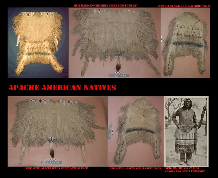 Abito di pelle tipico delle donne Apache scomposto nei suoi vari pezzi, mantellina a poncho e gonna formata da 2 grembiuli. L'uomo infondo a destra mostra l'ampiezza di 1 dei 2 grembiuli di cui è composta la gonna. Questi abiti sono ancora in uso oggigiorno durante la loro più importante cerimonia, il rito della pubertà.