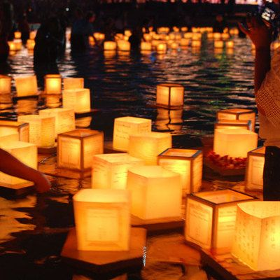 This would b sooooooo pretty in the pond!!!! 50 SQUARE CHINESE lanterns wishing floating water River paper candle light on eBay! - $45.90. I love this!!!! I've seen the wishing lanterns before, but saw where they flew up, and I didn't like that idea because what if they caught the trees/venue on fire..... bad idea!!! But we could always ask if we could use one of their ponds/lakes ;) ;) ;)