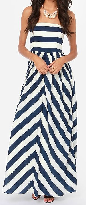 Ivory and Navy Blue Striped Maxi Dress