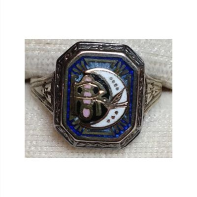 Art Deco 10k white gold Rebekah ring. Circa 1930's. The rectangular face of this dainty ring presents the symbols of the Rebekah Lodge (dove, letter R, crescent moon, seven stars and three chains) in blue, pink and white enamel. [The Rebekah's were the sister lodge to the Independent Order of Odd Fellows.] The ring is hallmarked 10k inside the shank and visible using a jeweller's loupe but our camera is not able to capture the image for this posting. Good vintage condition. This would...