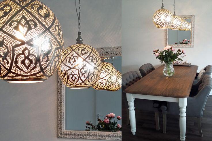 Oosterse lampen Isra boven eettafel
