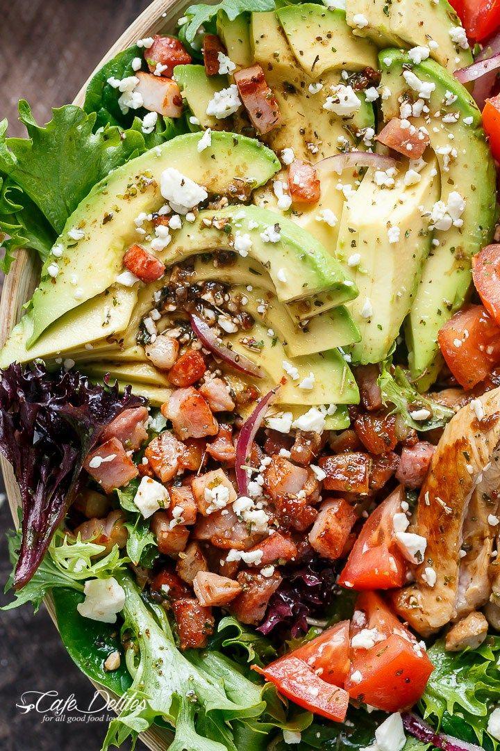 BLT Balsamic Chicken Avocado & Feta Salad - Cafe Delites