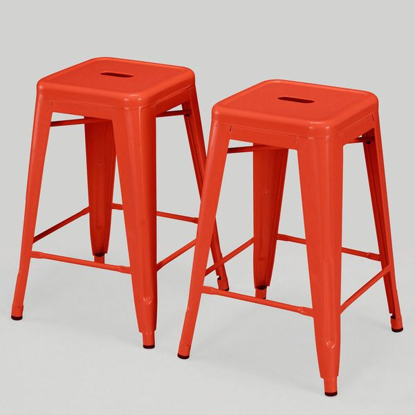 Tabouret Tangerine Metal Counter Stools (Set of . I think this a perfect color for the garage workbench!  sc 1 st  Pinterest & 75 best Counter Stools images on Pinterest   Counter stools Bar ... islam-shia.org