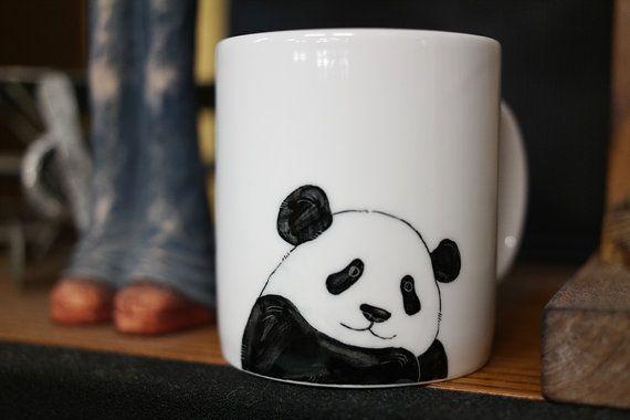 Hand bemalt tierische Becher - niedlichen Becher Pokal - Panda Bear Becher Pokal 3