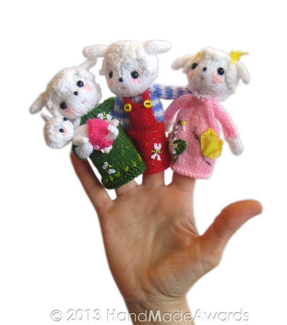 LAMBS Family Finger Puppets PDF Email Knit PATTERN