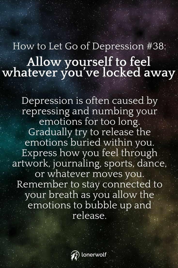 Letting go of depression ...