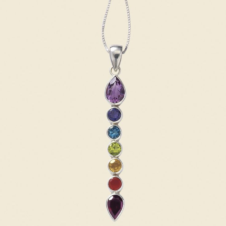 Chakra Teardrop Pendant - New Age, Spiritual Gifts, Yoga, Wicca, Gothic, Reiki, Celtic, Crystal, Tarot at Pyramid Collection