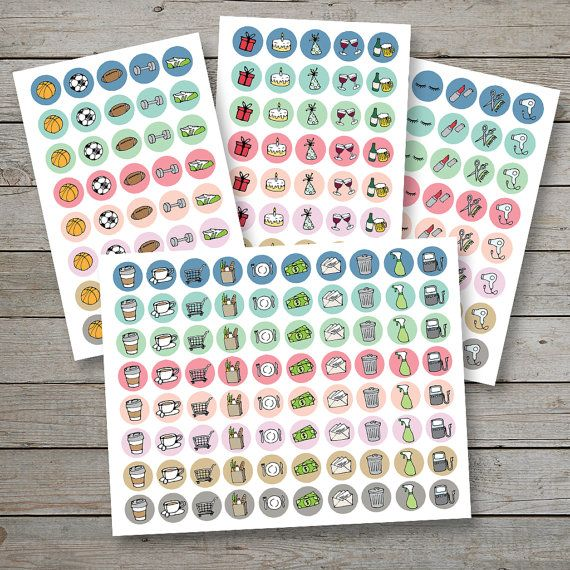 Printable planner stickers / planner icon stickers / planner