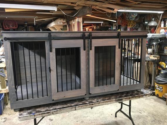 Barn Door Style Dog Kennel Dog Crate Dog Furniture Custom Etsy