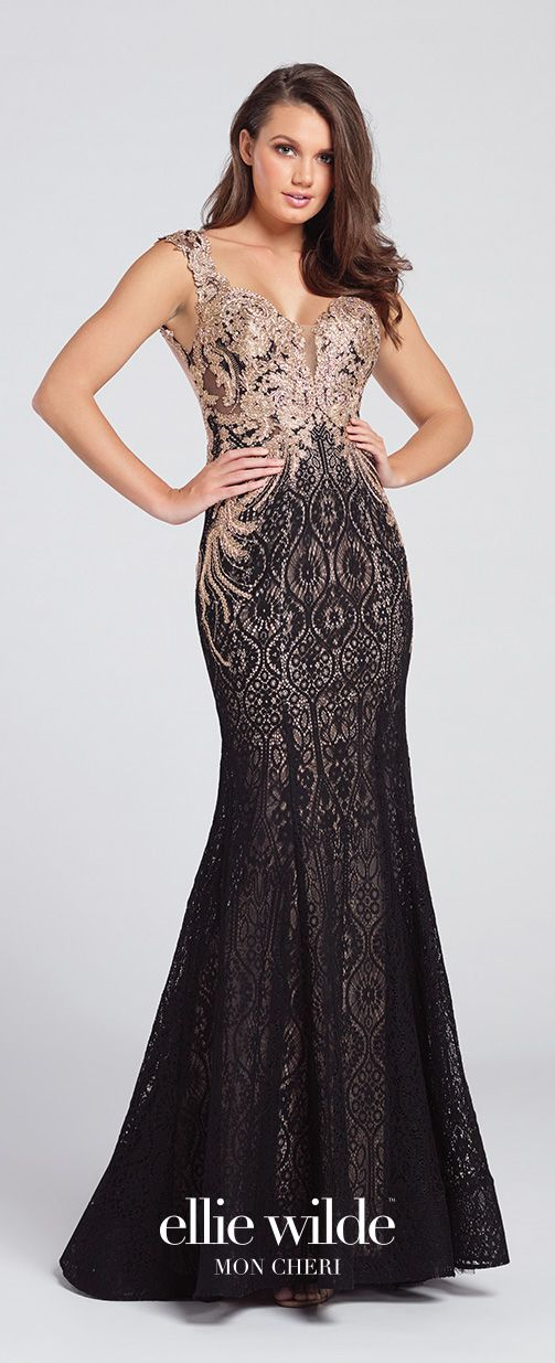 Prom Dresses 2017 - Ellie Wilde for Mon Cheri - Black and Gold Lace Prom Dress with Metallic Bodice -  Style No. EW117109