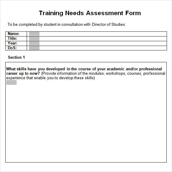 training needs assessment form