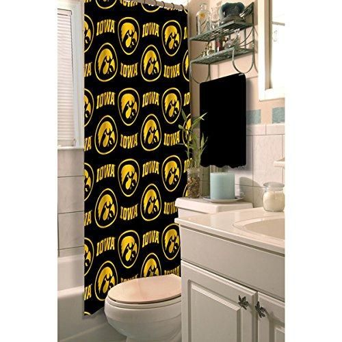 Black Yellow Iowa Hawkeyes Football Sports Themed Shower Curtain Polyester Detailed Sports Pattern Modern Elegant Design Official Colorful Team Logo