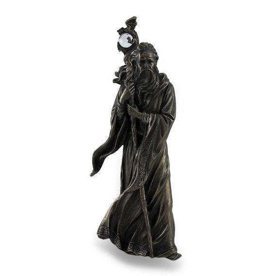 Grand Wizard Merlin w/Dragon Staff Bronze Finish Statue, Gold (Resin)