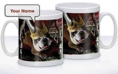 Personalised King Dog Mug - Treat that dog lover to a mug complete with their name on! Choose a name to feature along with the adorable dog wearing a crown! #PersonalisedGifts #PetGifts #DogGifts #PersonalisedMug £10.99
