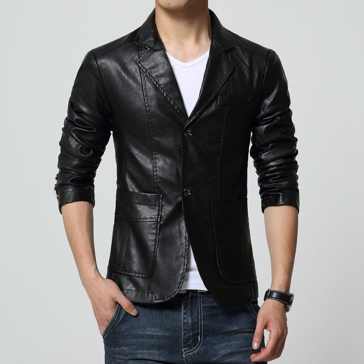 2017 new arrival blazer men PU faux leather Slim coat brand leather blazers  men slim fit 736932213e5