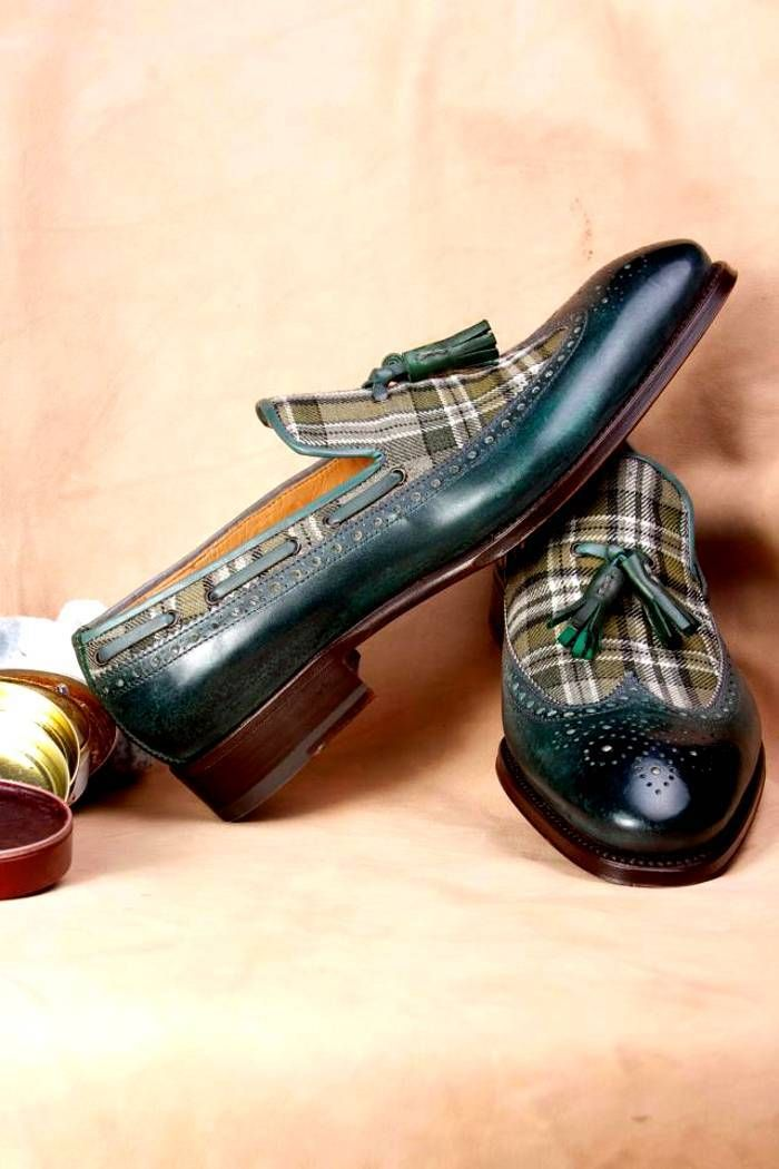 Ivan Crivellaro expensive shoes, tasseled loafer tweed plaid and leather wingtip