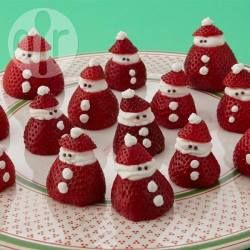 Mini Strawberry Santas | These cute little Santas make a fun and healthy Christmas dessert for young children! All you need are strawberries, whipped cream and some chocolate sprinkles. | @ allrecipes.com.au
