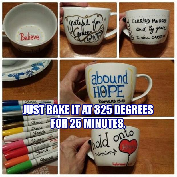 Draw on inexpensive cups with Sharpies, then bake at 325 degrees for 25 minutes. Image only.