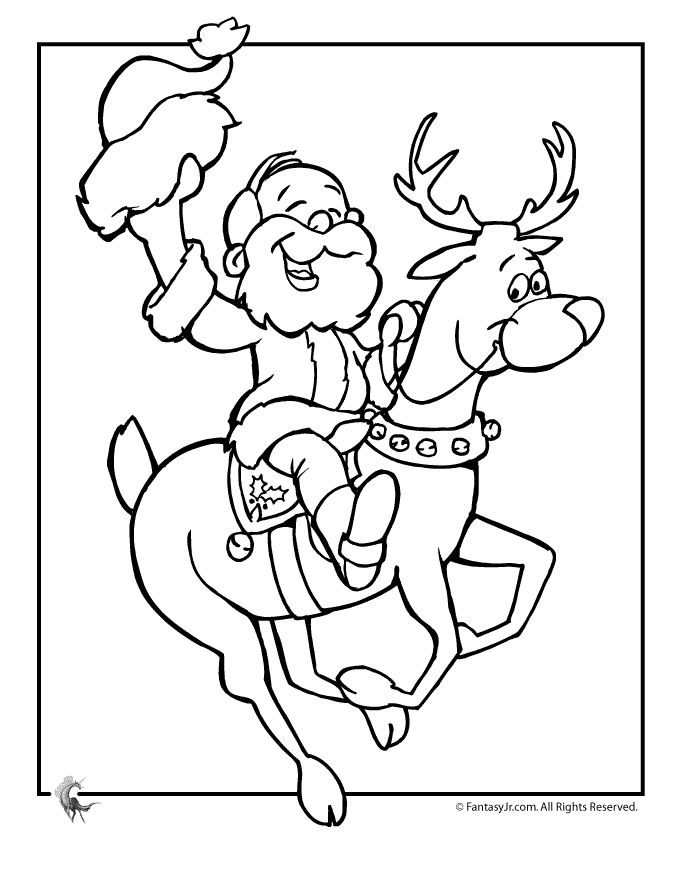 Santa and reindeer coloring page color me pretty x mas for Santa with reindeer coloring pages