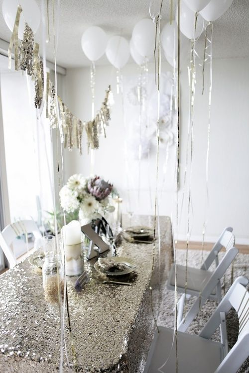 Wedding decor. Sparkly decor. Glittery decor. White balloons. Gold bunting. sequin tablecloth