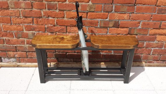 Hallway bench with double seat and umbrella by Redcottagefurniture