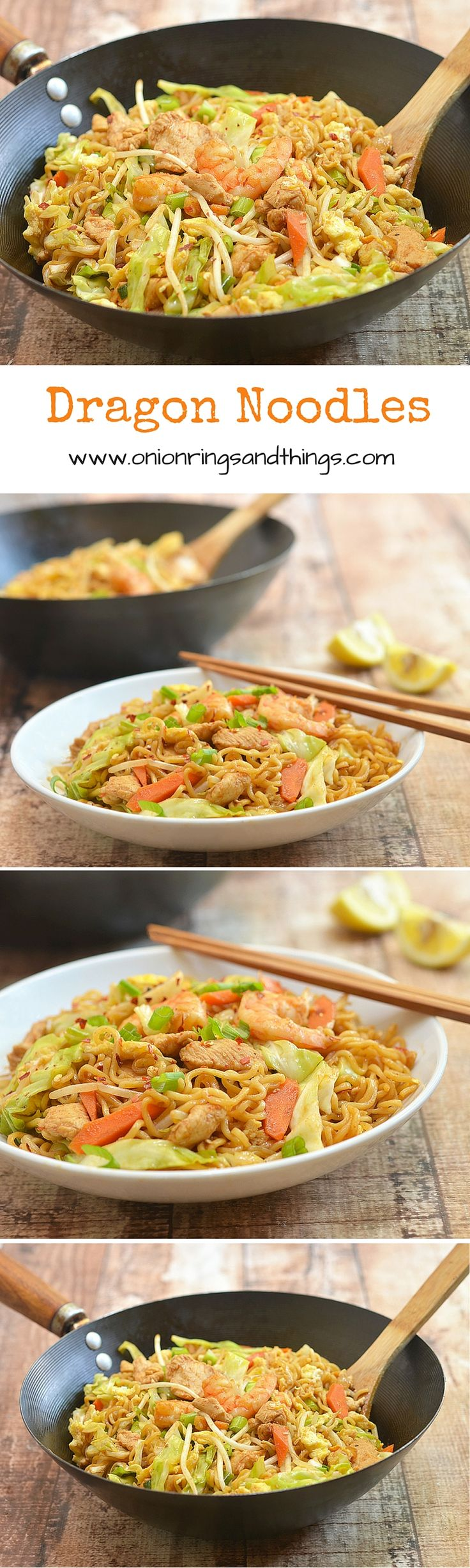 Chock-full of chicken, shrimp and veggies, these dragon noodles are a delicious way to turn your ramen noodle packages at home into a meal worthy of guests. It comes with big, bold flavors everyone is sure to love.