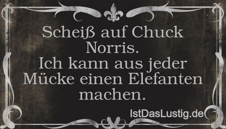Scheiß auf Chuck Norris. Ich kann aus jeder Mücke einen Elefanten machen. ... gefunden auf https://www.istdaslustig.de/spruch/3/pi