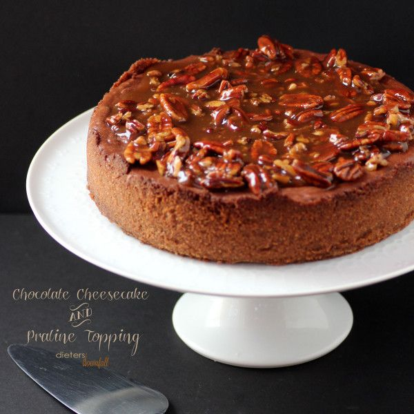 Chocolate Cheesecake with Praline Sauce