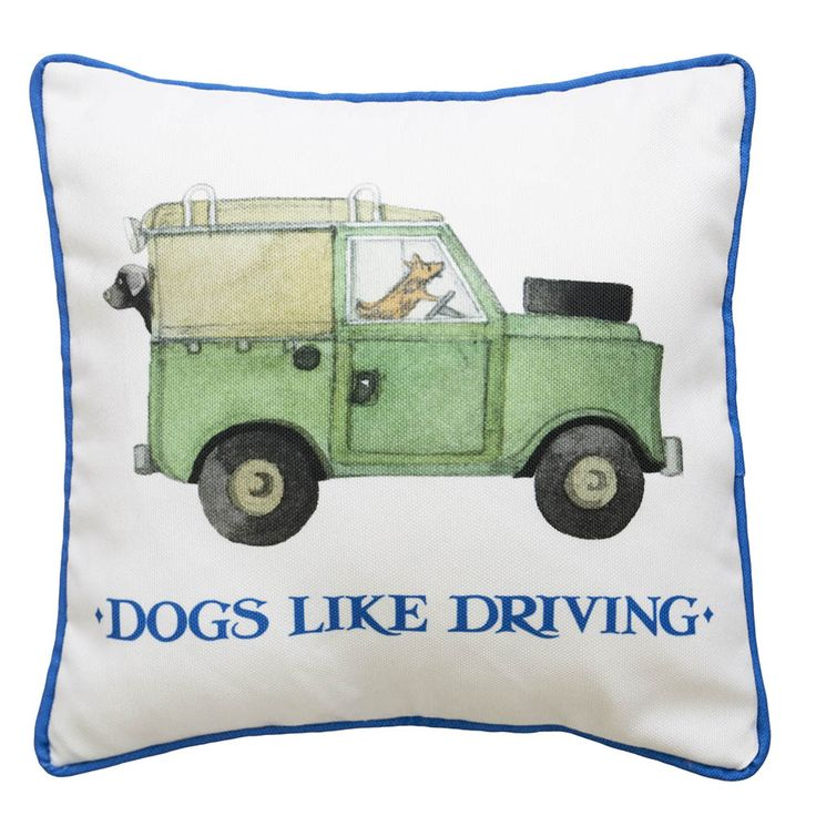A fun, hand painted Land Rover driven by a little dog. Smart blue piping detail and matching blue text make this the perfect cushion for any childs bedroom.