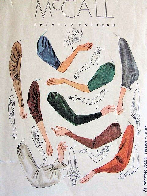 Some pattern company should get smart and start selling interlocking pattern pieces like this - so you could pick a sleeve, a bodice, a skirt and put them together . . . Fabulous 1930s Art Deco Style Sleeve Pattern