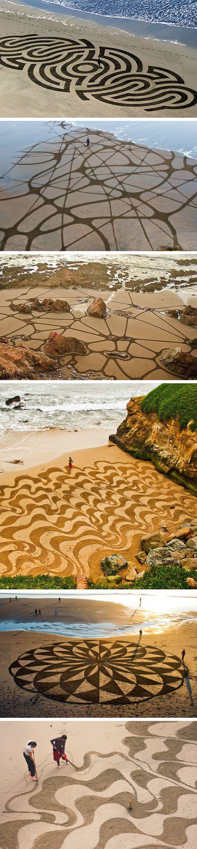 Andres Amador é um artista famoso por criar obras incríveis e frágeis na areia de praias ao redor do mundo.    Impressionante!