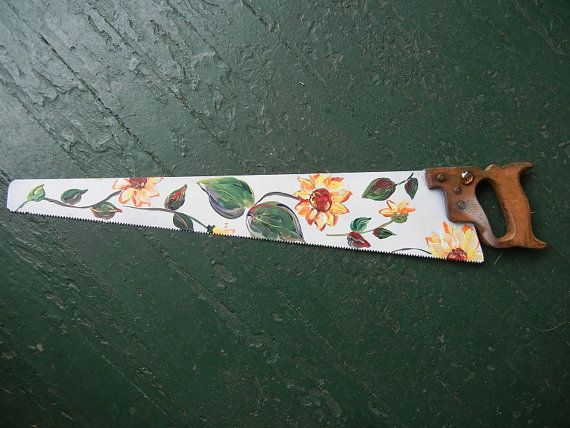 Antique Vintage Hand Saw Hand Painted With By Groovyrejuvy
