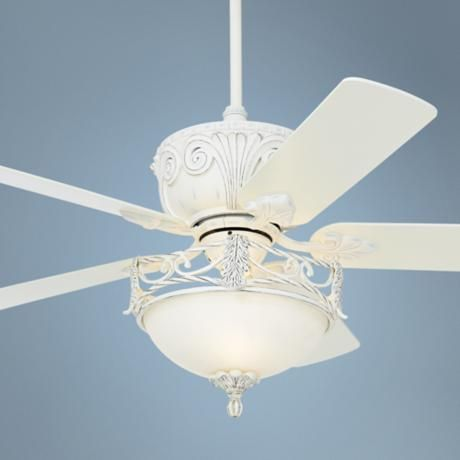 Casa Deville Rubbed White Ceiling Fan With Light Style 87534 45518 V4314