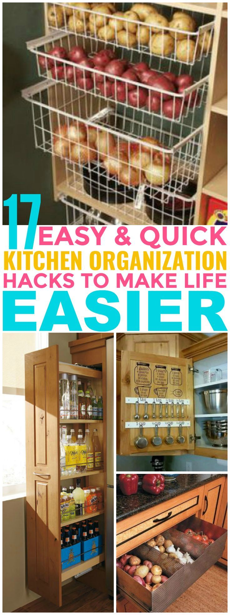 These 17 Hacks Are Totally AWESOME! I can't believe all these ways I can organize my vegetables and kitchen supplies!